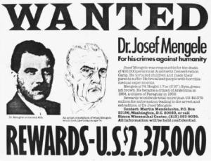 wanted poster josef mengele