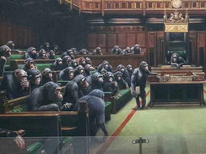 Banksy-painting-of-chimps-in-House-of-Commons