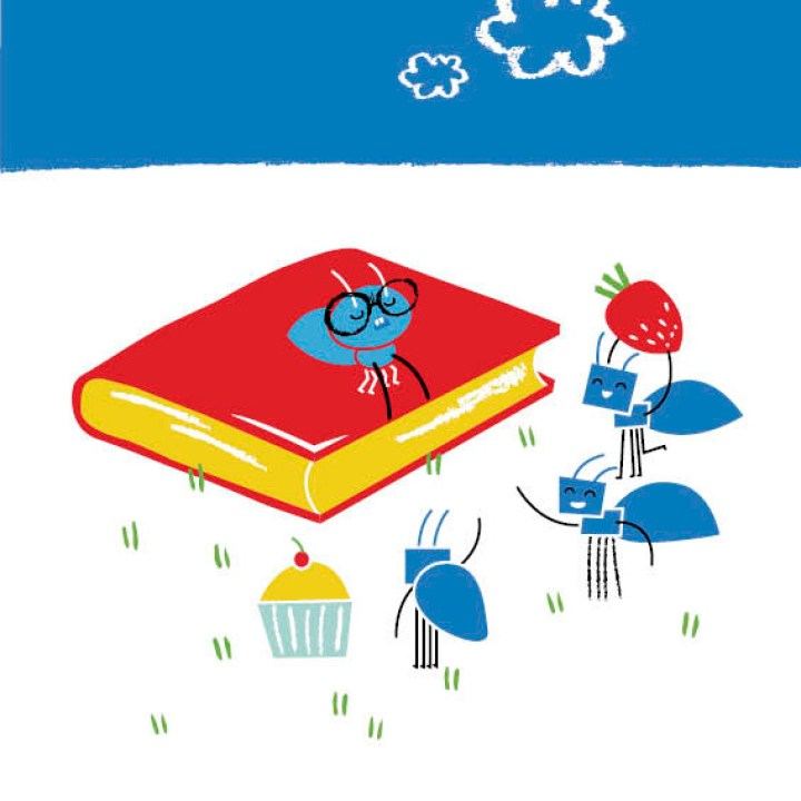 Little Ant wears glasses and sits on top of a book. The other ants hold items of food.