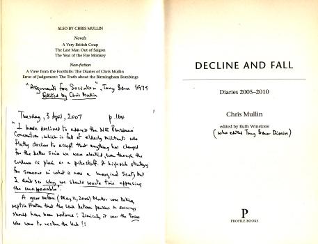 Decline & Fall - Diaries 2005 - 2010 by Chris Mullin 5
