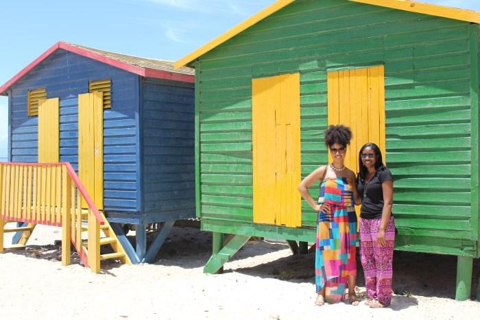 Colorful beach huts along  Muizenberg beach