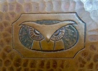 Hand engraved Owl Face on Roycroft Bookends