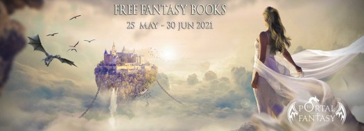 June Free Fantasy Books With a picture of a woman draped in fly-away gossamer staring at a castle on a floating island
