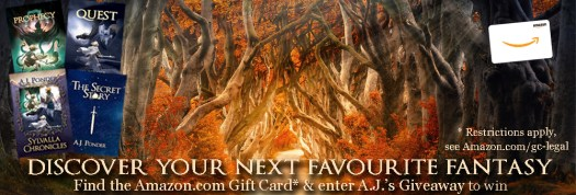 Epic Fantasy and fairy tale September Book Promotions - Discover your favourite fantasy - fairy tales and epic with atmospheric picture of trees and A.J. Ponder's Sylvalla Chronicles books and and Amazon.com Book Voucher image.