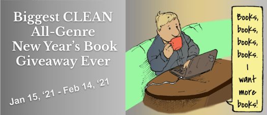 Clean New Year Book Giveaway with coffee drinking man enjoying searching for new and amazing reads.