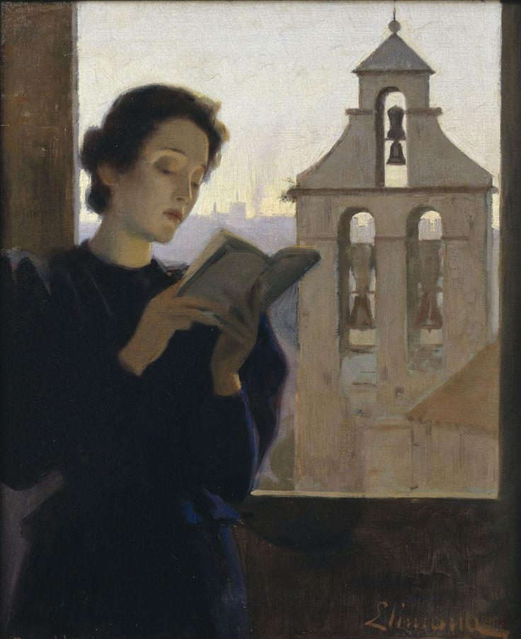 Girl Reading (1900-1905). Joan Llimona (Spanish, 1860-1926). Oil on canvas. Museu Nacional d'Art de Catalunya.