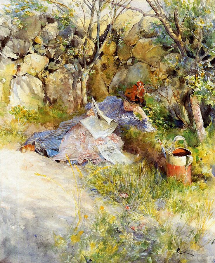 A Lady Reading a Newspaper (1886). Carl Larsson (Swedish, 1853-1919). Watercolor on paper