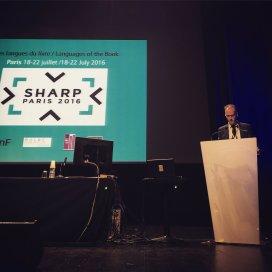 Opening ceremonies: Ian Gadd (SHARP President) speaks (photographed by Jason Ensor, photo from Twitter).