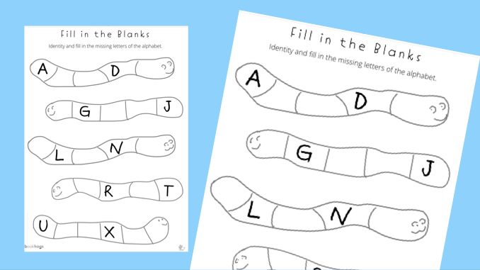 Alphabet Worm Missing Letters – Bookhogs