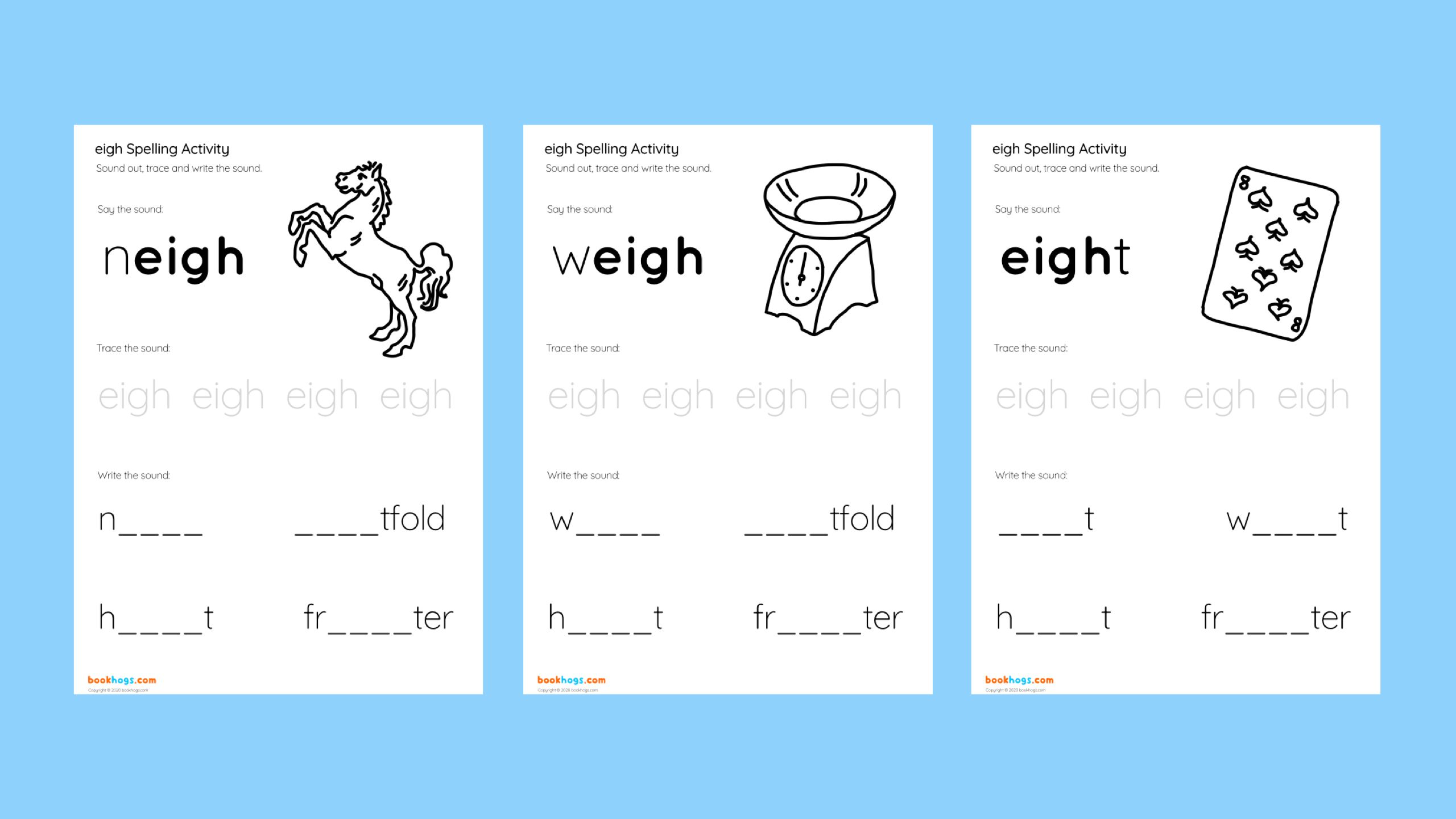 Eigh Spelling Activity Bookhogs