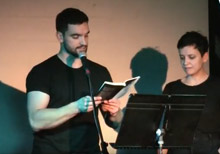Jean-Philippe Baril Guérard and Aimee Wall reading from Sports and Pastimes at the 2017 BookThug Fall Launch