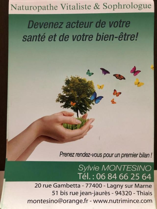 Booking therapeute – Sylvie Montesino – Naturopathe Vitaliste – sophrologue – flyer – Thiais -Lagny sur Marne
