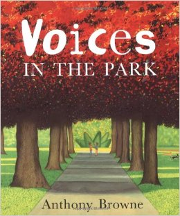 """#AtoZchallenge: """"V"""" is for Voices in the Park (2001) by Anthony Browne"""