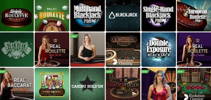 Настольные игры в казино Betsson
