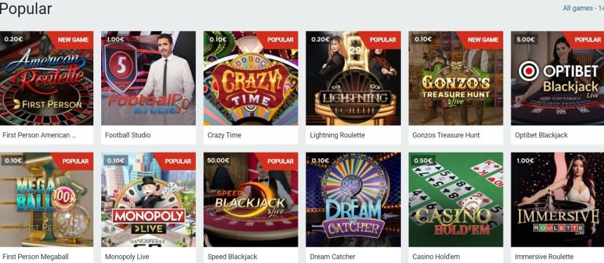 Живые игры в казино Optibet