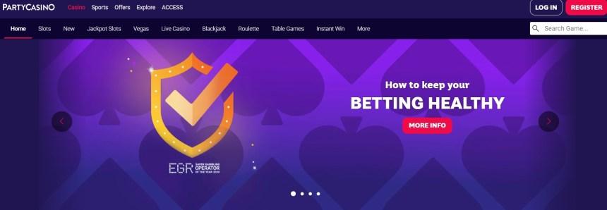 Интерфейс казино Party Casino