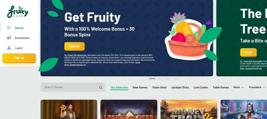 Интерфейс казино Fruity Casa