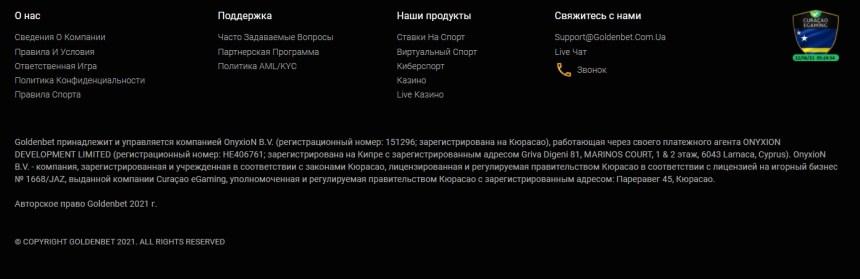 Интерфейс казино GoldenBet