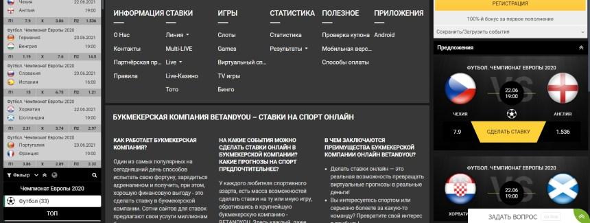 Интерфейс казино Betandyou