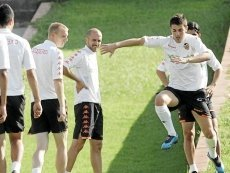 Игроки 'Валенсии' во время тренировки
