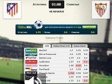 Сравнение коэффициентов на встречу «Атлетико Мадрид» – «Севилья» в матч-центре «Рейтинга Букмекеров»