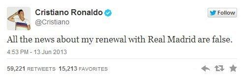 В твите написано: «Все слухи о моем продлении контракта с «Реалом» – ложь».
