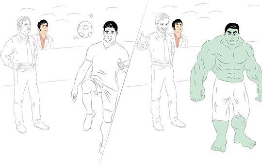 Фотокарточка: Халк тренирует превращение