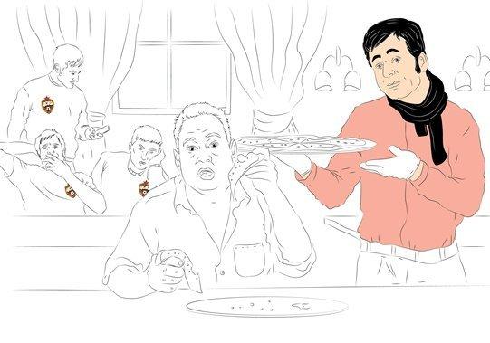 Фотокарточка: Леонид Слуцкий по достоинству оценил итальянское кулинарное исскуство