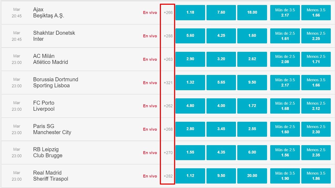 Количество рынков на матчи Лиги чемпионов на сайте БК BetPlay