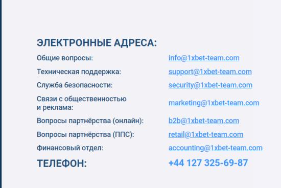 Контакты 1хBet, служба поддержки