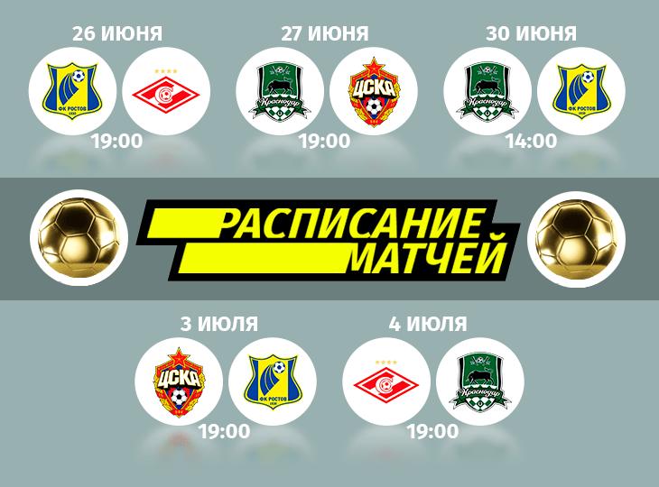 Расписание Краснодар, Ростов Кубок Париматч Премьер
