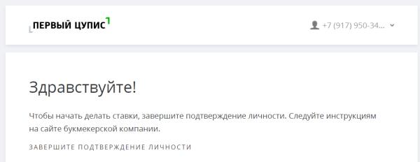 Завершение регистрации на сайте 1ЦУПИС