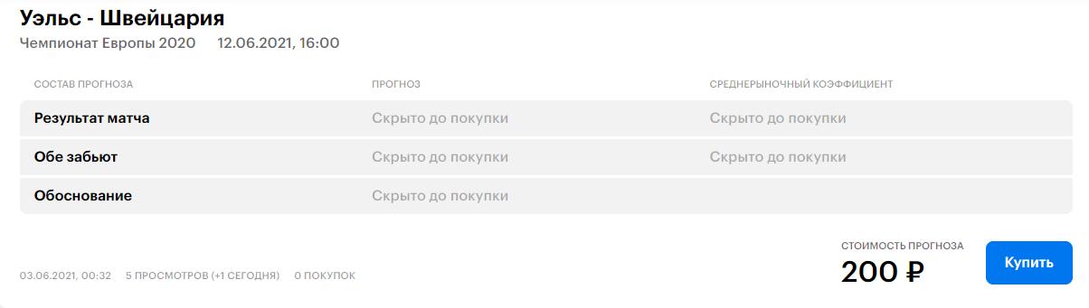 Выбор прогноза и покупка его на сайте Tips.ru