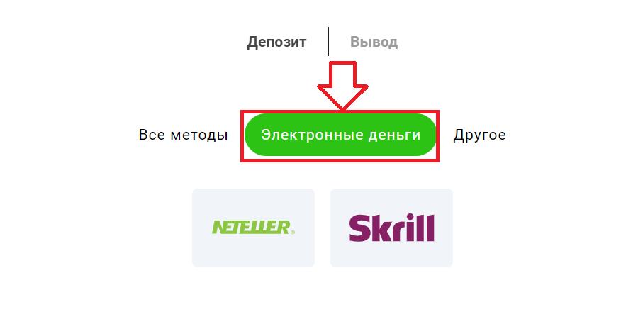 Выбор электронного кошелька для пополнения счета на сайте БК GGbet