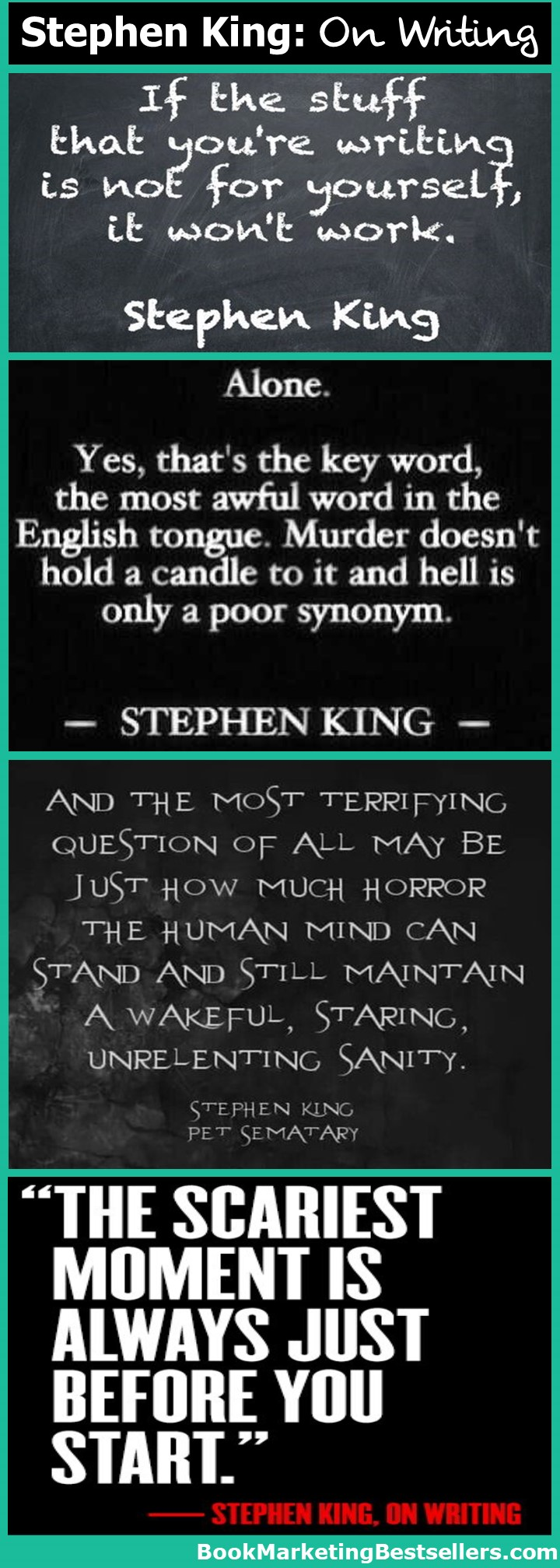 Stephen King on Writing: Here are a few wonderful quotations from master storyteller Stephen King on writing and horror presented as a tip-o-graphic. Enjoy these writing quotes.