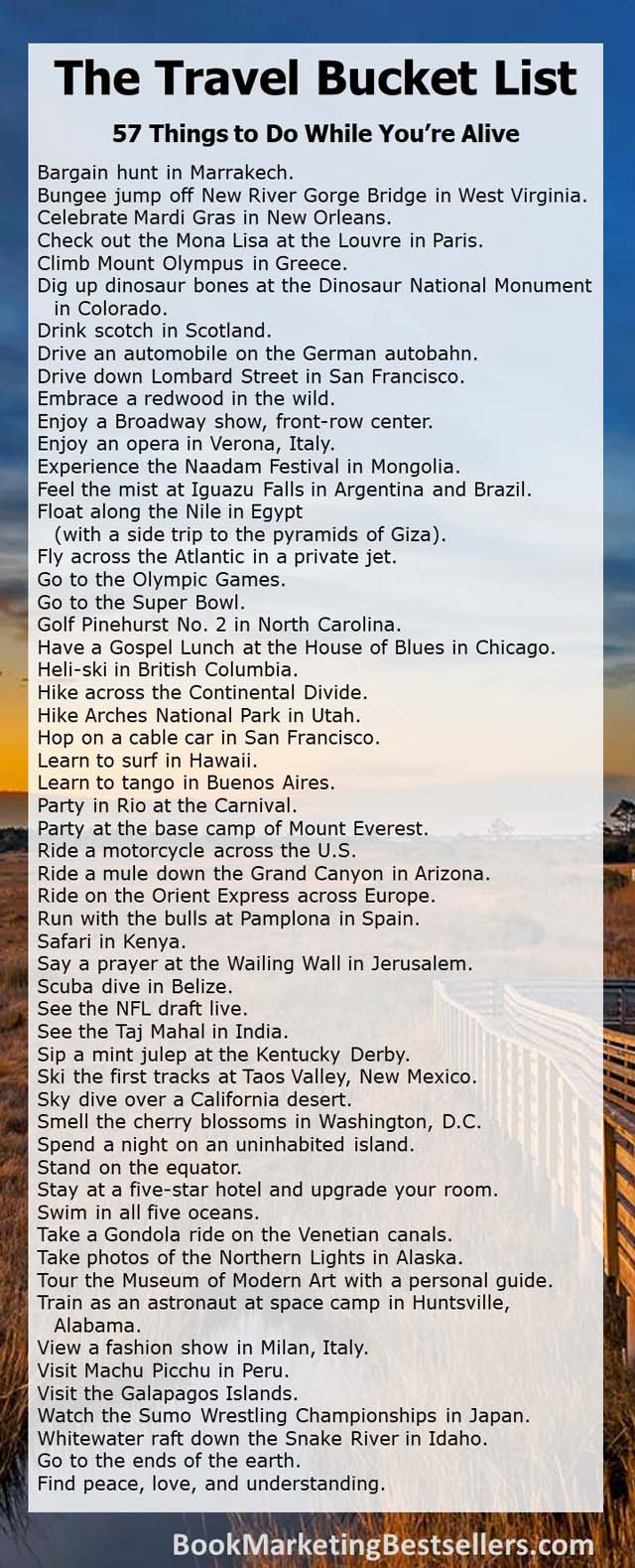 The Travel Bucket List: 57 things to do while you're alive - Check out this travel bucket list inspired by some old Visa Signature advertisements. How many of these 57 things to do while you're alive have you done?