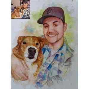 Custom Pet Portrait in Water Color as gift