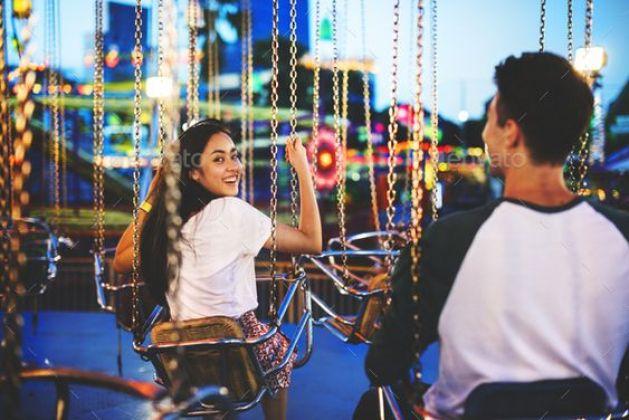 Couple portrait at amusement park