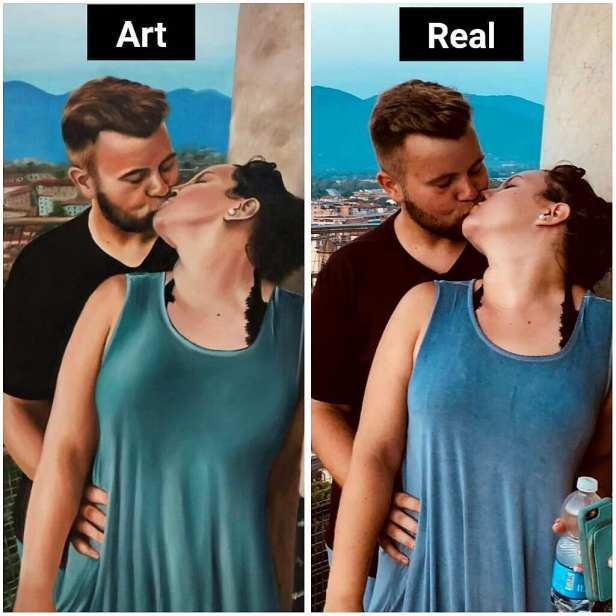 Removing the object in portrait painting