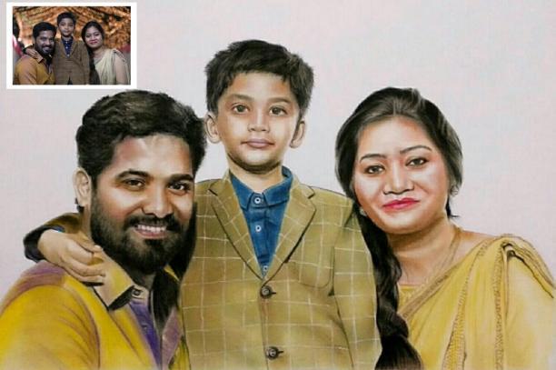 Color Pencil Family Portrait (Pet Loss Gift)