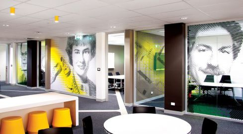 Branded wall office decoration idea