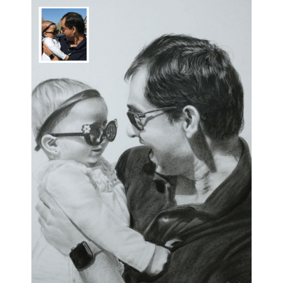 Baby Charcoal Portrait from Photo