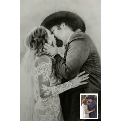 Couple Charcoal Portrait from Photo