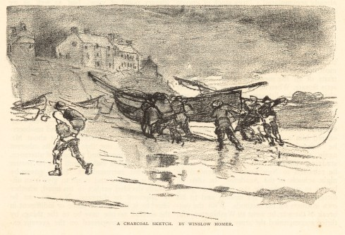 A charcoal sketch by Winslow Homer, 1883, Boston Public Library