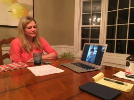 Jennifer Blankfein facetiming with Heather Rose