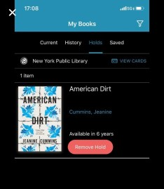 NYPL wait list for American Dirt 1/23