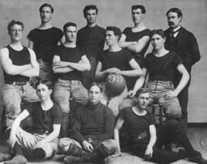 1899 University of Kansas basketball team, with Dr. James Naismith at the back, right