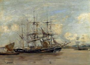 Le Havre, Three Master at Anchor in the Harbor - by Eugene-Louis Boudin - 1878-1879