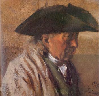 Peasant with a Three-Cornered Hat, 1850-60 by Menzel, Adolf von