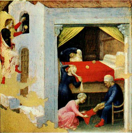 Quaratesi Altarpiece - St. Nicholas and three poor maidens by Gentile da Fabriano